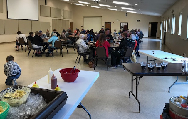 crowd enjoying good company & food