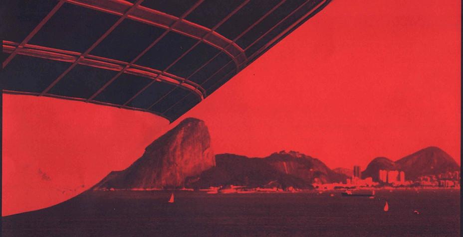 Cianótipo sobre papel vermelho de Sergio Rocha