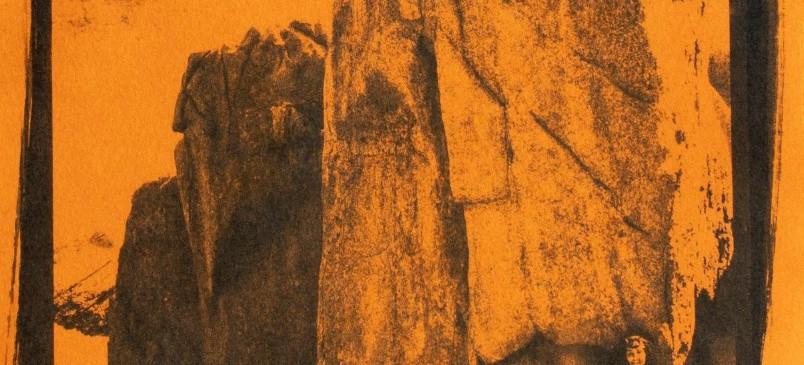 Cianótipo sobre papel laranja