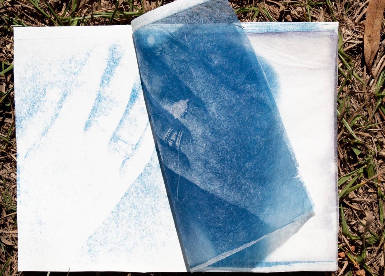 Cianotipo sobre papel japonês