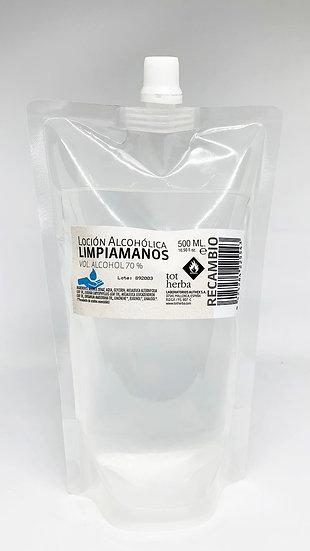 Loción Alcohólica Limpiamanos 500 ml Recambio