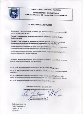 Decreto da Diocese de Lages - SC