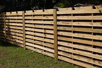 Horizontal Shadow Box Wood Fence Panels, Toe Nailed.