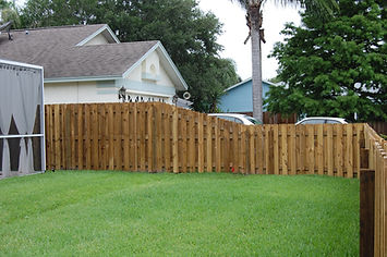 Transition Panel Wood Fence Panel, going 6' to 4' left handed.