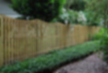 6' Tall Vertical Shadow Box Wood Fence Panels with Scoop Top (concaved)
