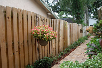 6' Tall Wide Board Vertical Shadow Box Wood Fence Panels with Round Top.