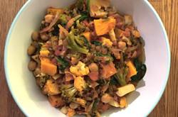 Sweet Potato, Cauliflower, Broccoli and Lentil Curry
