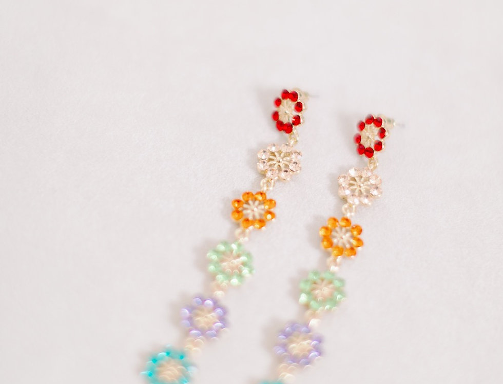 Rainbow Flower Drop Earrings