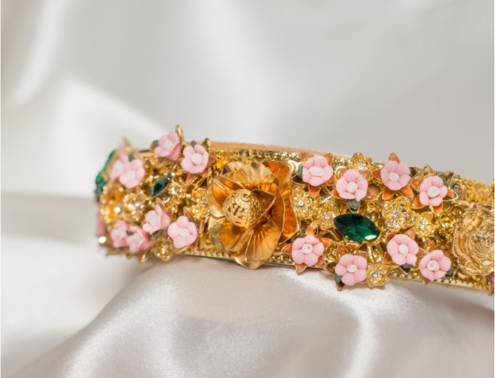 Romilly Embellished Crown Headband In Gold