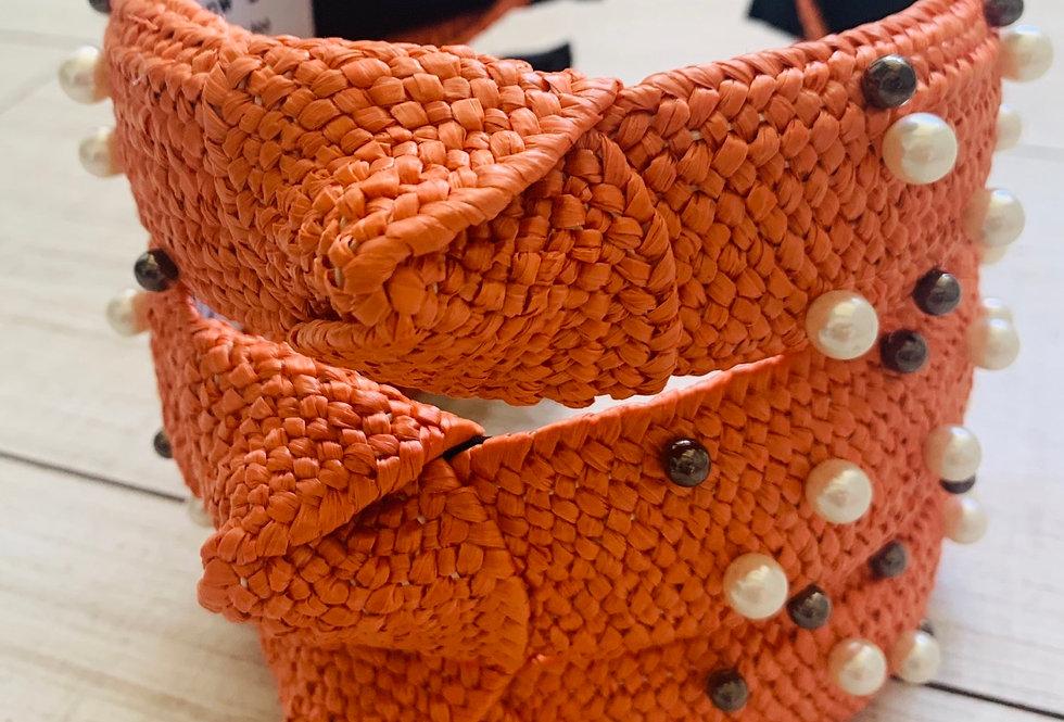 Orange Pearl Raffie Headband