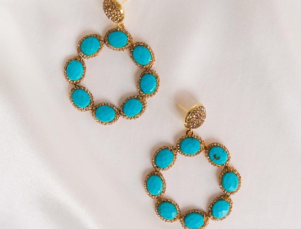 Dark Turquoise & Gold Halo Earrings