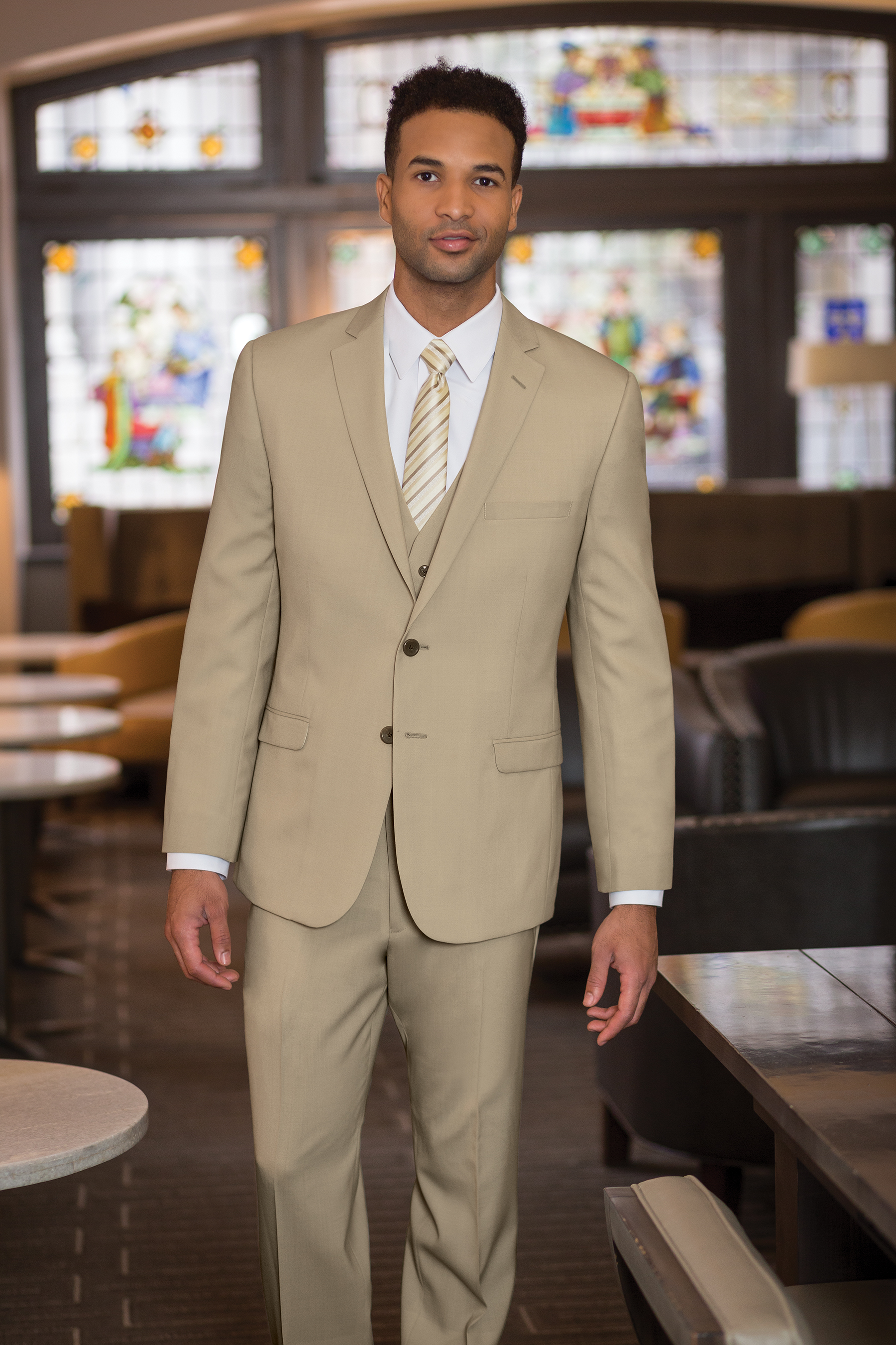 Two Button Tan 3-piece Suit