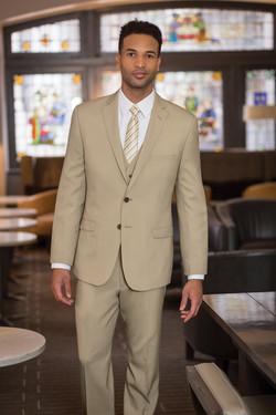 Two Button Tan 3-piece Suit