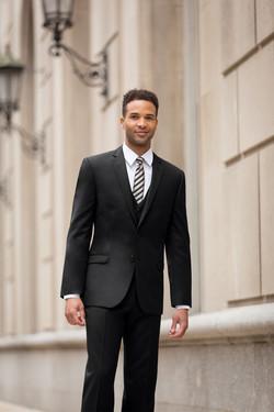 Two Button Black Suit