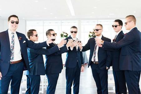 Michael kors navy wedding suit groom groomsmen floral tie slim fit skinny tux tuxedo rental