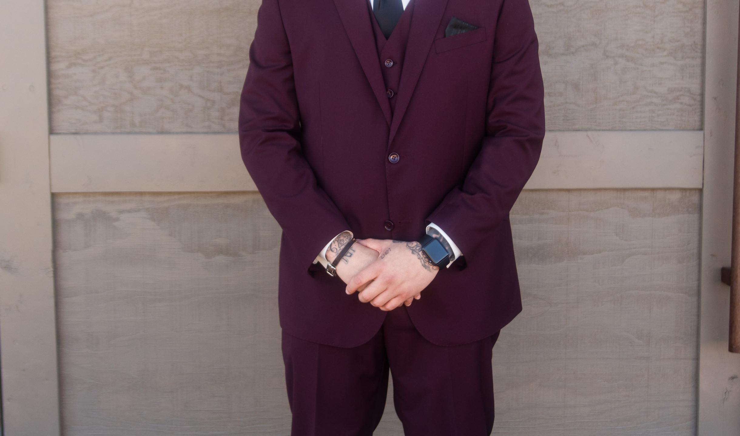 burgundy suit groom and groomsmen desert wedding phoenix arizona