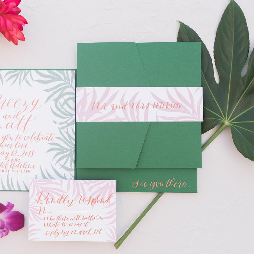 Wedding Invitation Suites   Pantone Green   Scottsdale Arizona