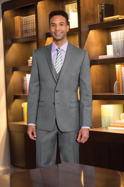 Two Button Heather Grey 3-piece Suit