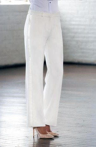 Diamond White Wide Tuxedo Pants