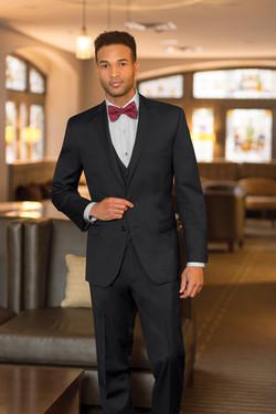 Two Button Black 3-piece Suit