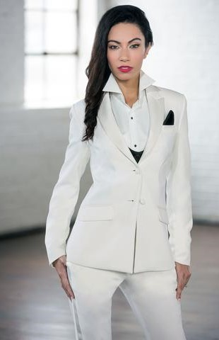 Diamond White Peak Tuxedo Jacket