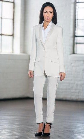 Diamond White Shawl Long Tuxedo Jacket