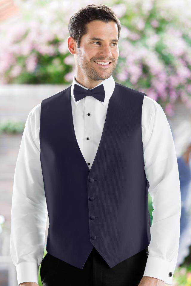 Herringbone Navy Vest