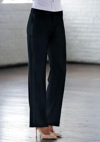 Black Wide Fit Tuxedo Pants