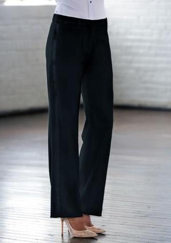 Black Wide Fit Tuxedo Pants