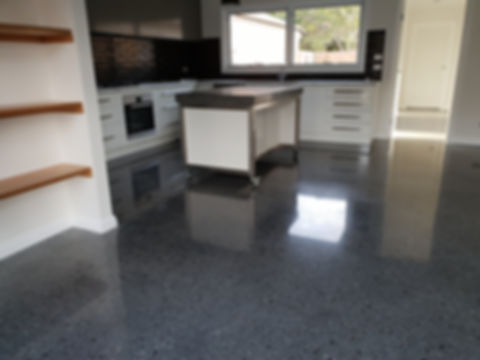 GALAXY Concrete Polishing & Grinding | Polished Concrete Gloss finish | Charcoal Concrete with mixed pebbles