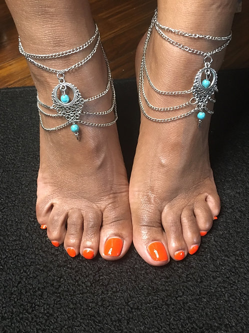 Goddess Beaded Chain Turquoise Anklets