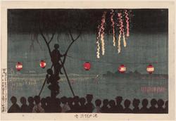 Fireworks in Ikenohata - by Kiyochika Kobayashi