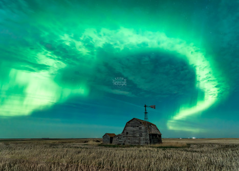 Near Waldeck, SK May 14, 2019  Since the day I happened upon this old barn while scouting the countryside for photography locations, I had wanted to shoot aurora over it.  After 2 previous night-time attempts, I was rewarded by this incredible night of aurora that surprised us all, as it wasn't forecast.