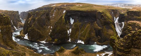 Fjaðrárgljúfur Canyon Panorama