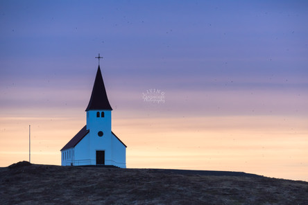 Sunrise over Vik Church