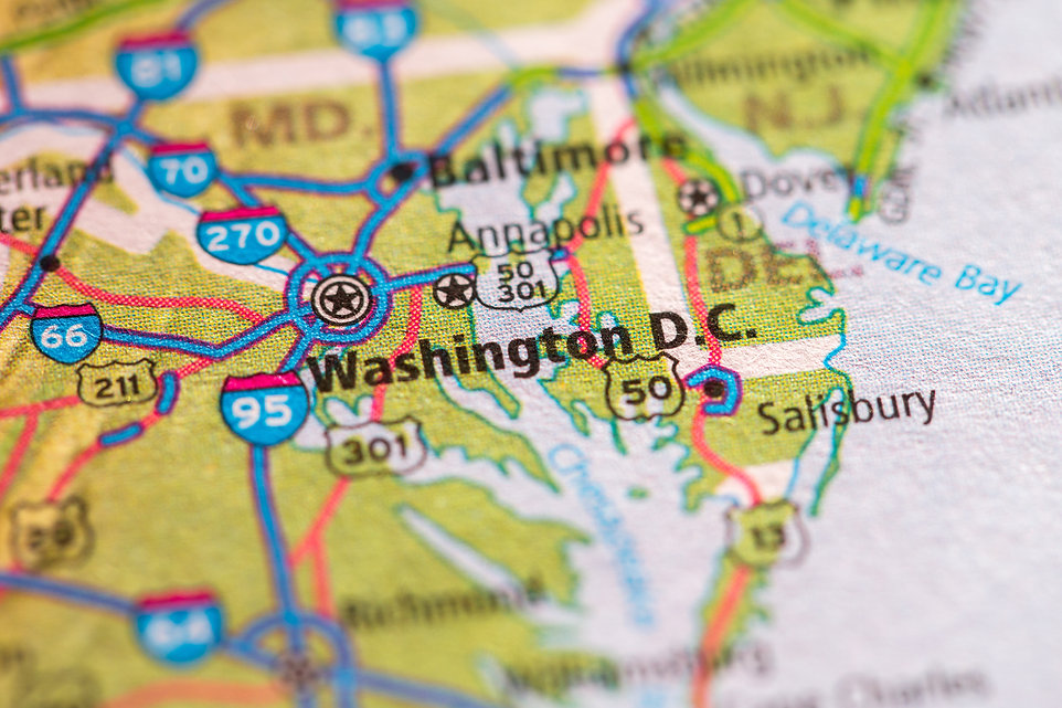 Closeup of Washington DC on a geographic