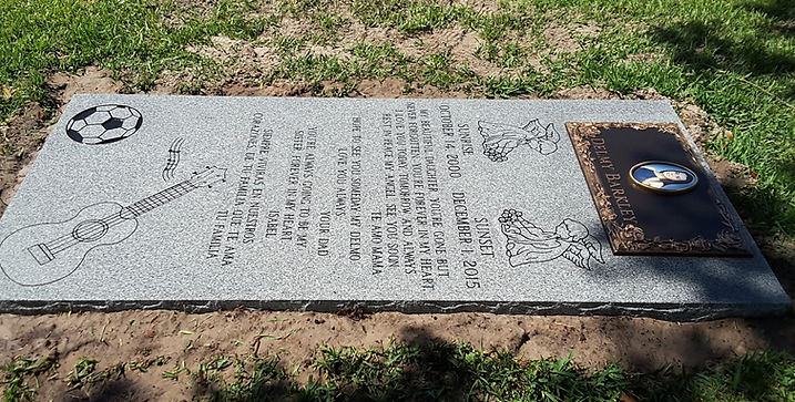 Glen Haven  Bronze Memorial Gray Granite Ledger