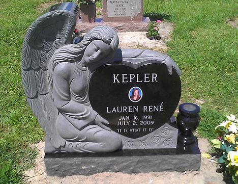 Angel Over Heart Memorial Winter Garden Cemetery Jet Black