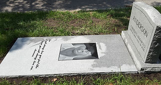 Etching Ledger Slab Gray Granite Greenwood Cemetery