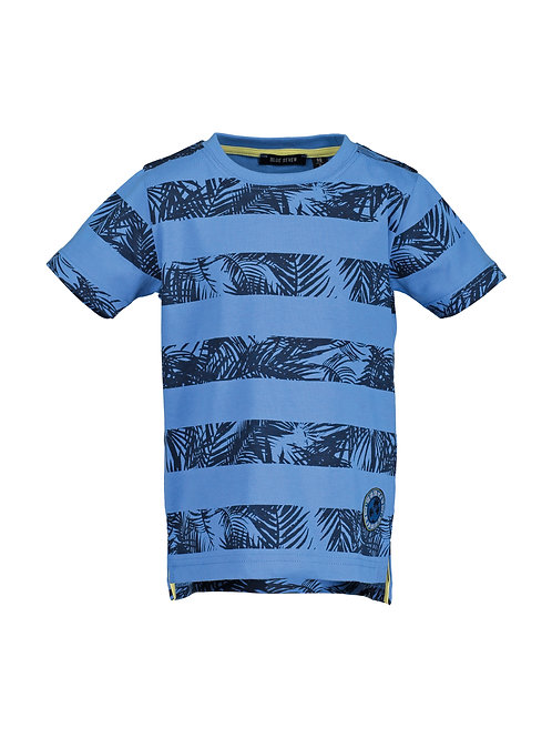 Blue Seven Navy Leaf Stripe Tee
