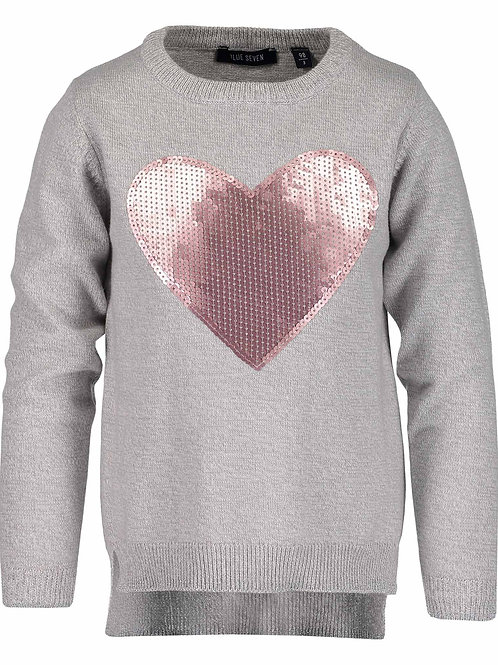 Blue Seven Sequin Heart Fleece in Grey