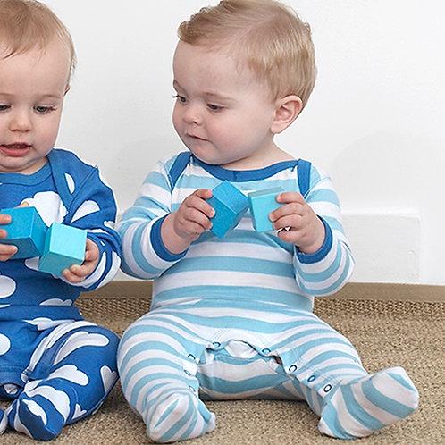 TOBY TIGER Organic Blue Stripe Baby Grow