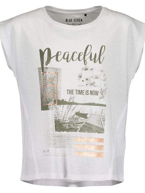 Blue Seven Short Sleeve Peaceful Printed Tee in White