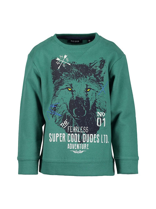 Blue Seven Wolf Sweatshirt in Dark Green