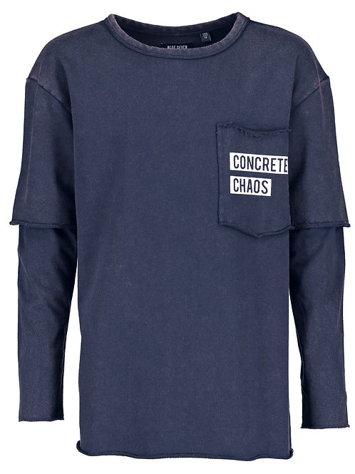 Blue Seven Chaos Fleece Long Sleeve in Navy