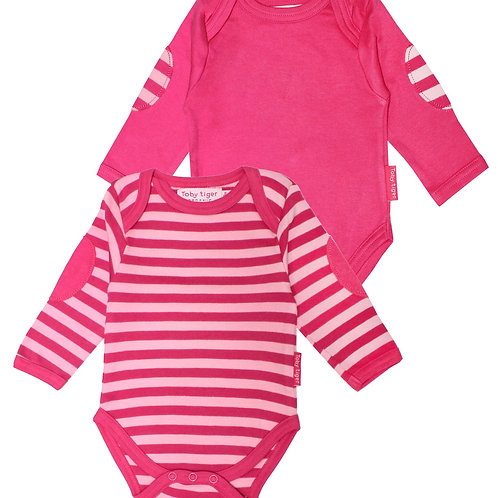 Twin pack Pink stripe and Plain baby Bodies