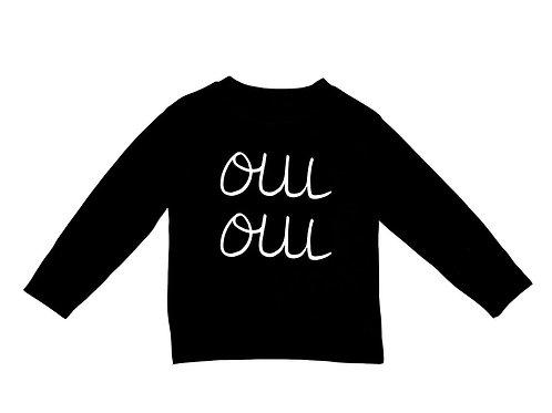 Long Sleeve 'Oui Oui' Tee in Black.