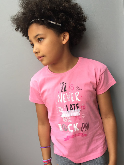 Blue Seven Girls Pale Pink ROCK Tee