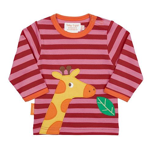 Toby Tiger Organic Cotton Striped Giraffe Tee