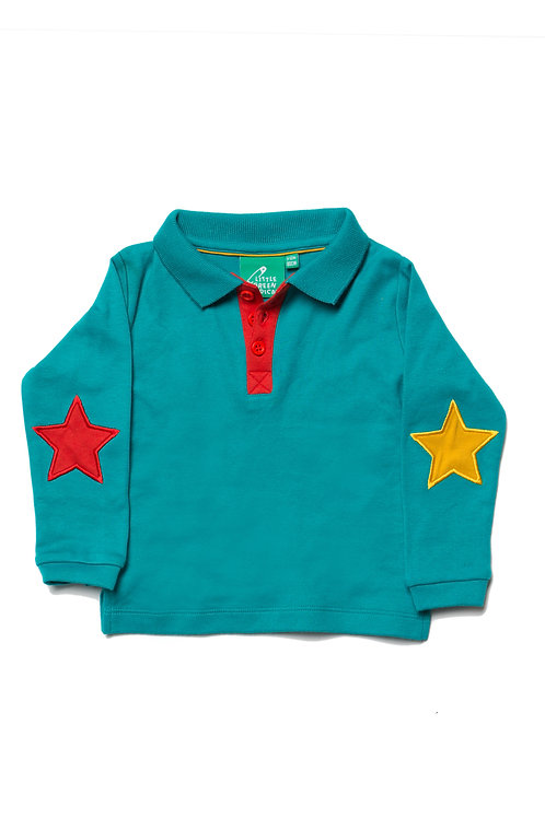 'Little Green Radicals' Peacock Blue Star Polo